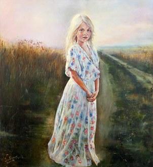 """""""In Mamas Kleid"""",wo meine Tochter die im Spiel eines meiner Kleid angezogen hat. Mit dem Frauenkleid steht auf einem Feldweg,den ich als holprigen und wild bewachsen """"Weg des Leben""""ansehe...."""