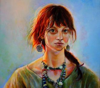 """2012 Öl auf Leinwand """"Frau mit roten Haaren""""(80x100)"""